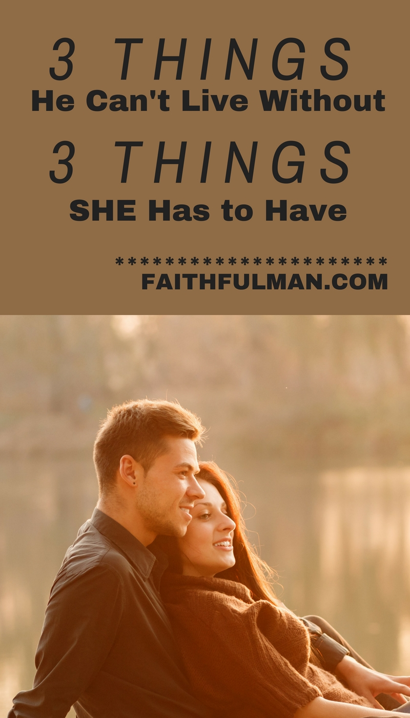 Don't make the mistake of doling out the bare minimum when it comes to your spouse. There are three things your man can't live without and by 'live' we're really talking about thriving, not just surviving. via @faithful_man